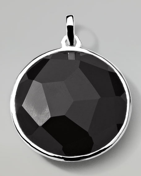 Men's Sterling Silver Round Pendant in Onyx