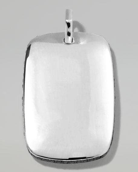 Men's Silver Tag Pendant with Black Diamonds