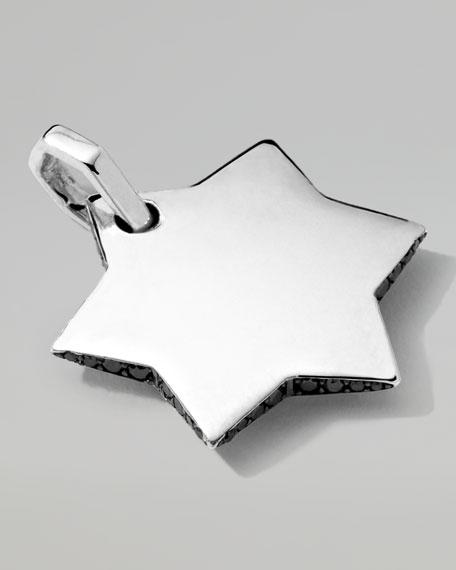 Men's Sterling Silver Star of David Pendant with Black Diamonds
