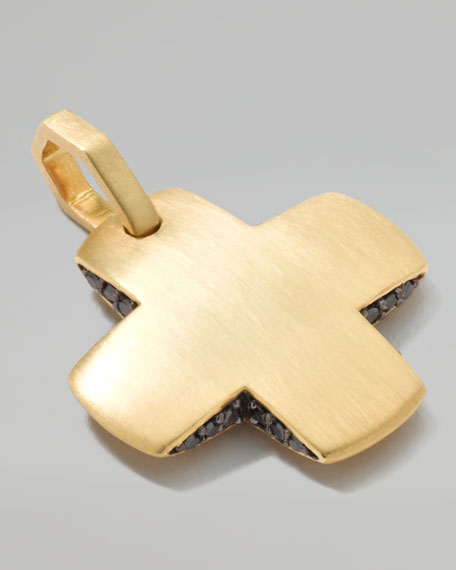 18K Gold Men's Square Cross Pendant with Black Diamonds