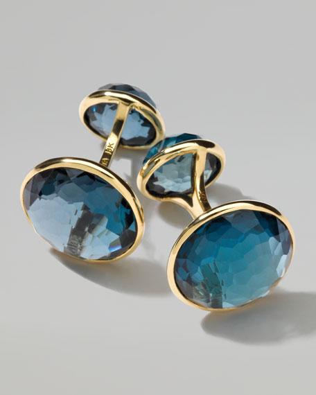18K Gold Lollipop 2-Stone Cuff Links in London Blue Topaz