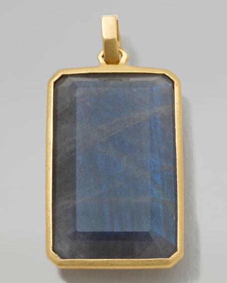 Men's 18k Gold Large Rectangular Pendant in Labradorite