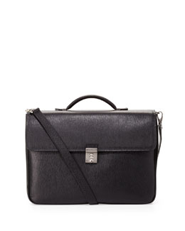 Salvatore Ferragamo Revival Double-Pocket Flap Briefcase, Black