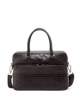Salvatore Ferragamo Gamma Gancini-Embossed Computer Case, Brown