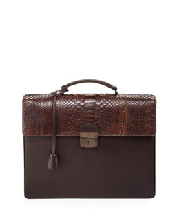 Salvatore Ferragamo Python-Flap Double-Gusset Briefcase, Brown