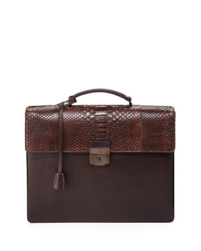 Salvatore Ferragamo Python-Flap Double-Gusset Briefcase, Brown