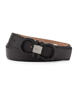 Salvatore Ferragamo Pebbled Enamel-Gancini Belt, Black