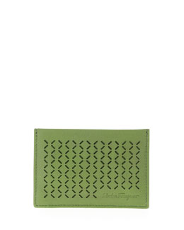 Salvatore Ferragamo Drill Perforated Leather Card Case, Green