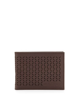 Salvatore Ferragamo Drill Perforated Bi-Fold Wallet, Brown