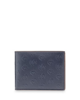 Salvatore Ferragamo Elephant-Print Leather Wallet, Navy