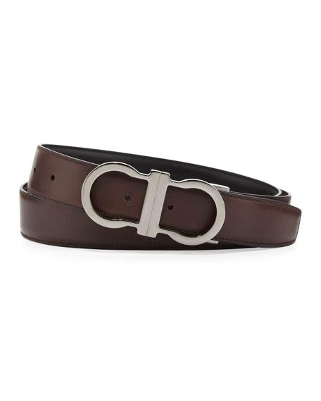 Reversible Gancini-Buckle Belt, Brown/Black