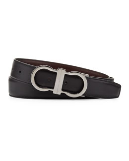 Salvatore Ferragamo Reversible Gancini-Buckle Belt, Brown/Black