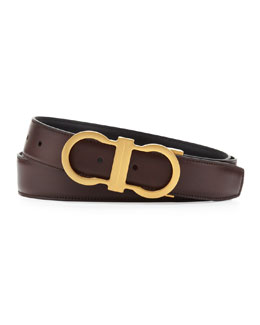 Salvatore Ferragamo Reversible Golden-Gancini Belt, Brown/Black
