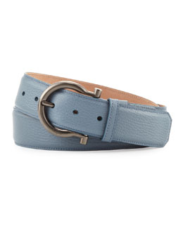 Salvatore Ferragamo Pebbled Gancino Belt, Light Blue