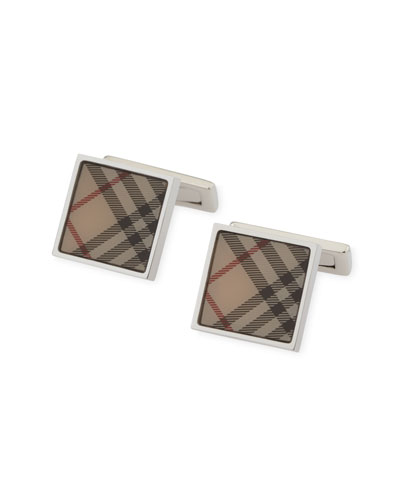 Square Check Cuff Links, New Trench