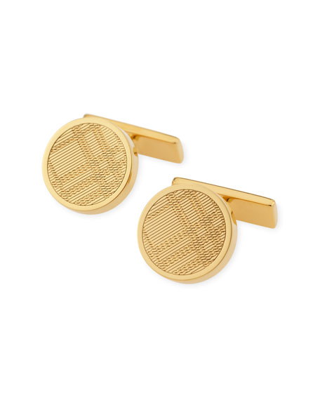 Embossed Check Cuff Links