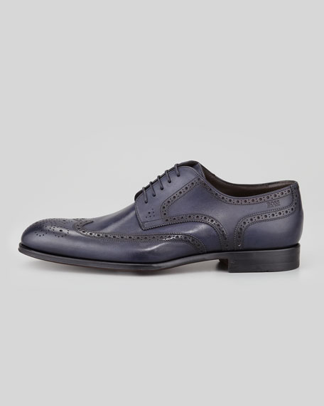 Savois Wing-Tip Lace-Up Shoe, Navy