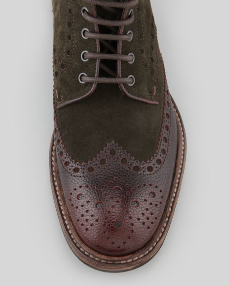 Lunno Suede & Leather Wing-Tip Ankle Boot, Green/Brown