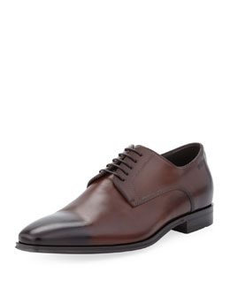 Hugo Boss Cassab Burnished Leather Lace-Up Shoe, Medium Brown