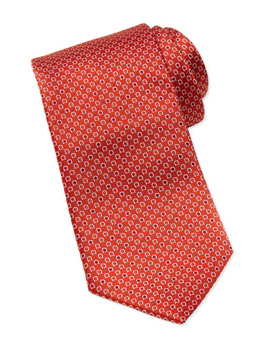 Salvatore Ferragamo Micro Gancini Silk Tie, Orange