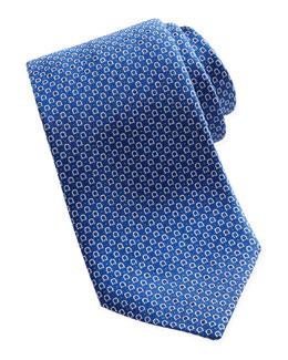Salvatore Ferragamo Woven Micro-Gancini Tie, Blue