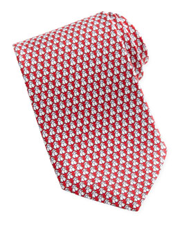 Salvatore Ferragamo Sheep-Print Silk Tie, Red