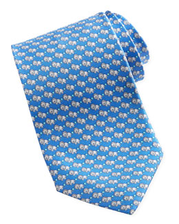 Salvatore Ferragamo Lion-Print Silk Tie, Blue