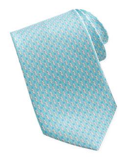 Salvatore Ferragamo Seahorse Silk Tie, Aqua
