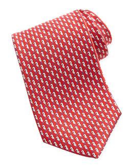 Salvatore Ferragamo Seahorse Silk Tie, Red