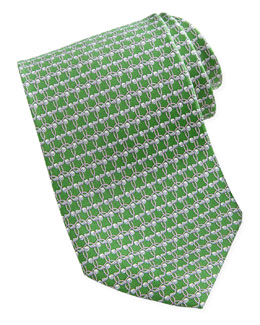 Salvatore Ferragamo Golf-Print Silk Tie, Green