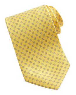Salvatore Ferragamo Spinning Top Silk Tie, Yellow