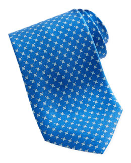 Salvatore Ferragamo Spinning Top Silk Tie, Blue