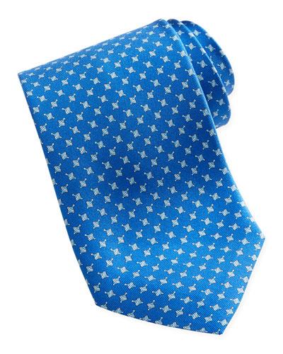 Salvatore Ferragamo Spinning Top Silk Tie, Blue