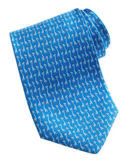 Salvatore Ferragamo Giraffe-Print Silk Tie, Blue