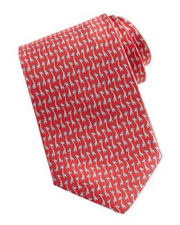 Salvatore Ferragamo Giraffe-Print Silk Tie, Red