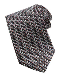 Salvatore Ferragamo Anchor-Print Silk Tie, Black
