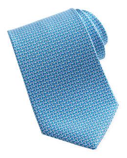 Salvatore Ferragamo Anchor-Print Silk Tie, Turquoise