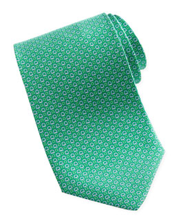 Salvatore Ferragamo Micro-Gancini-Print Silk Tie, Green