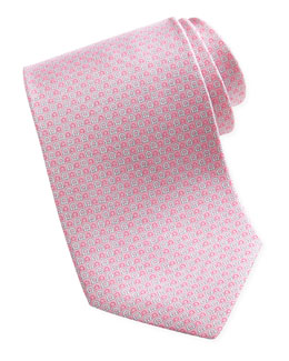 Salvatore Ferragamo Micro-Gancini-Print Silk Tie, Pink