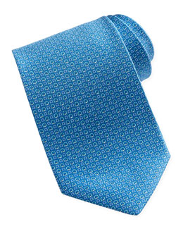 Salvatore Ferragamo Micro-Gancini-Print Silk Tie, Blue
