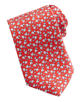 Salvatore Ferragamo Elephant/Balloon Silk Tie, Red