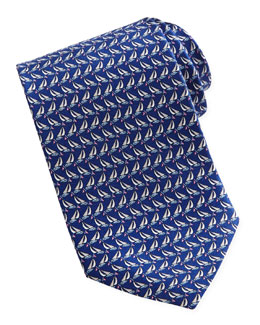 Salvatore Ferragamo Sailboat-Print Silk Tie, Dark Blue