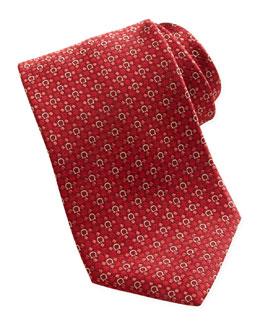 Salvatore Ferragamo Woven Gancini Silk Tie, Red