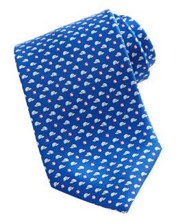 Salvatore Ferragamo Baseball-Print Silk Tie, Blue