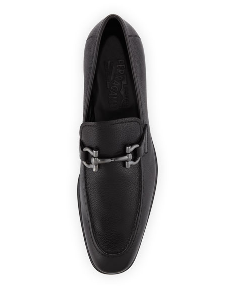 Pebbled Rubber-Sole Gancini Loafer, Black