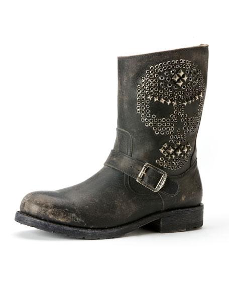 Rogan Skull Studded Engineer Boot, Black