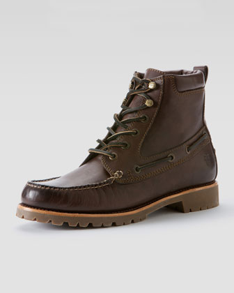 Sully Lug Lace-Up Boot, Dark Brown