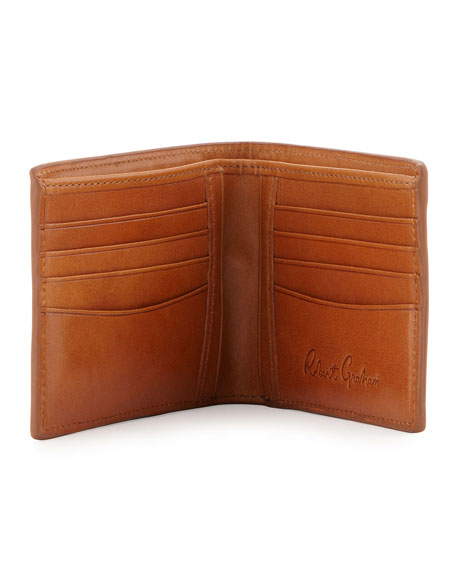 Tooled Paisley Leather Wallet, Cognac