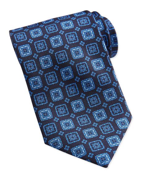 Square Medallion Silk Tie, Blue
