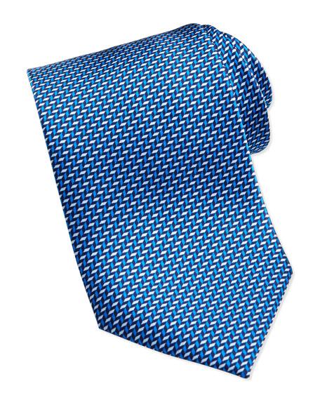 Stairstep Silk Tie, Blue